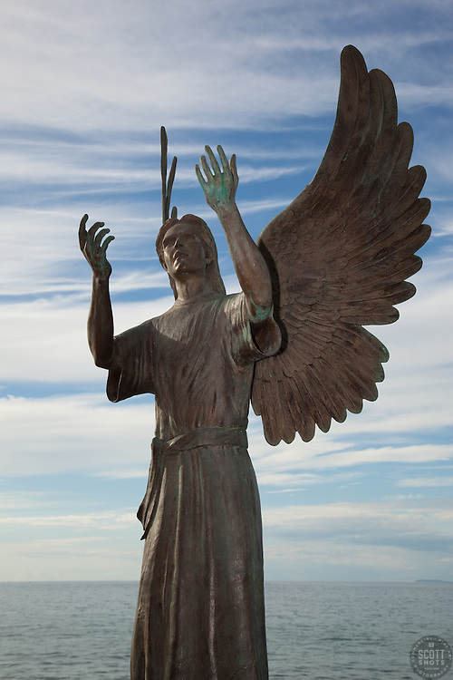 """Angel de la Esperanza"" - This bronze sculpture was photographed at the Malecón in Puerto Vallarta, Mexico."