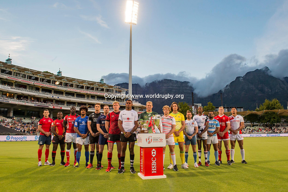 The 16 team captains appeared at the famous Newlands cricket ground during a break in play at the annual Springboks v Proteas (South African cricket team) charity match.<br /> HSBC Sevens World Series, Cape Town, South Africa.<br /> 8 December 2016.<br /> Photo: www.worldrugby.org