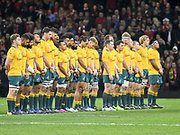 Rugby Union - 2017 Under Armour Series (Autumn Internationals) - Wales vs. Australia<br /> <br /> Australia line up for a minute's silence for armistice day , at The Principality Stadium (Millennium Stadium).<br /> <br /> COLORSPORT/WINSTON BYNORTH