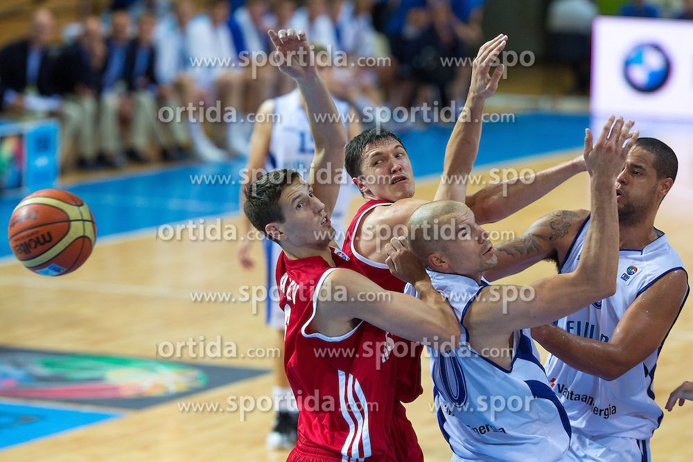 In battle for ball during basketball match between national team of Finland and Russia of Eurobasket 2013 on September 8, 2013 in Arena Bonifika, Koper, Slovenia. (Photo By Matic Klansek Velej / Sportida.com)