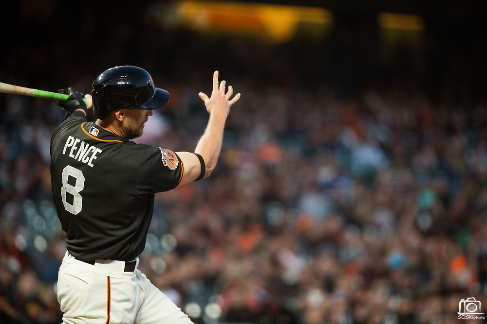San Francisco Giants right fielder Hunter Pence (8) swings at a pitch against the Oakland Athletics at AT&T Park in San Francisco, California, on March 30, 2017. (Stan Olszewski/Special to S.F. Examiner)