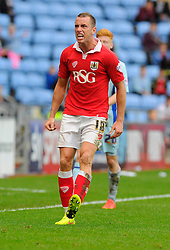 Bristol City's Aaron Wilbraham appeal for a throw in  - Photo mandatory by-line: Joe Meredith/JMP - Mobile: 07966 386802 - 18/10/2014 - SPORT - Football - Coventry - Ricoh Arena - Bristol City v Coventry City - Sky Bet League One