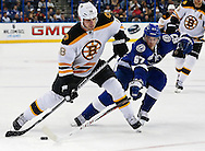 Boston Bruins' Nathan Horton, left, takes a shot ahead of a check by Tampa Bay Lightning's Benoit Pouliot during the third period of an NHL hockey game Thursday, Feb. 21, 2013, in Tampa, Fla. The Bruins won 4-2. (AP Photo/Mike Carlson)