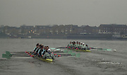19/12/2003 - Photo  Peter Spurrier.2004 Cambridge University Boat Club Trail 8's.Roses [right] leads Guns as the crews row past Chiswick Eyot. Varsity; Boat Race Rowing Course: River Thames, Championship course, Putney to Mortlake 4.25 Miles