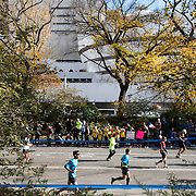 NYTRUN - NOV. 6, 2016 - NEW YORK - Runners head south, past the Solomon R. Guggenheim Museum, on East Drive in Central Park  as they participate in the 2016 TCS New York City Marathon on Sunday afteroon. NYTCREDIT:  Karsten Moran for The New York Times