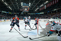 KELOWNA, CANADA - MARCH 14: Chance Braid #22 looks for the pass from Rourke Chartier #14 of Kelowna Rockets against the Kamloops Blazers on March 14, 2015 at Prospera Place in Kelowna, British Columbia, Canada.  (Photo by Marissa Baecker/Shoot the Breeze)  *** Local Caption *** Chance Braid; Rourke Chartier;