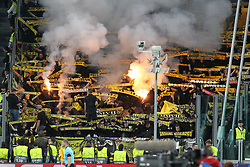 October 2, 2018 - Turin, Piedmont, Italy - Young Boys fans during the Juventus FC UEFA Champions League match between Juventus FC and Berner Sport Club Young Boys at Allianz Stadium on October 02, 2018 in Turin, Italy..Juventus won 3-0 over Young Boys. (Credit Image: © Massimiliano Ferraro/NurPhoto/ZUMA Press)