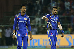 April 22, 2018 - Jaipur, Rajasthan, India - Mumbai Indians player Hardik Pandya and Krunal Pandya  during the IPL T20 match against  Rajasthan Royals  at Sawai Mansingh Stadium in Jaipur on 22 April,2018.(Photo By Vishal Bhatnagar/NurPhoto) (Credit Image: © Vishal Bhatnagar/NurPhoto via ZUMA Press)