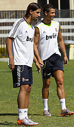 06.08.2010, los Angeles, ITA, USA, Real Madrid Training, Players attend a clinic with childre, im Bild Samir Kedhira and Cristiano Ronaldo, EXPA Pictures © 2010, PhotoCredit: EXPA/ Alterphotos/ Santiago +++++ ATTENTION - OUT OF SPAIN +++++ / SPORTIDA PHOTO AGENCY