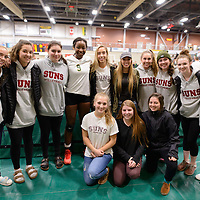 2nd year outside hitter Diana Lumbala (9) of the Regina Cougars with fans after the Women's Volleyball home game on November 18 at Centre for Kinesiology, Health and Sport. Credit: /Arthur Images