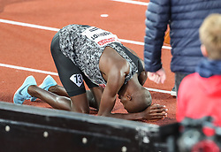 STOCKHOLM, May 31, 2019  Timothy Cheruiyot of Kenya celebrates after the men's 1500m at 2019 IAAF Diamond League in Stockholm, capital of Sweden, on May 30, 2019. Timothy Cheruiyot won the 1st place with 3 minutes and 35.79 seconds. (Credit Image: © Xinhua via ZUMA Wire)