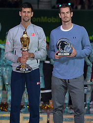 DOHA, Jan. 8, 2017  Novak Djokovic (L) of Serbia and Andy Murray of Britain pose after the awarding ceremony for the men's singles event of the Qatar ATP Open tennis tournament at the Khalifa International Tennis Complex in Doha, capital of Qatar, on Jan. 7, 2017. Novak Djokovic on Saturday beat Andy Murray of Britain 2-1 in the final to claim the title. (Credit Image: © Nikku/Xinhua via ZUMA Wire)