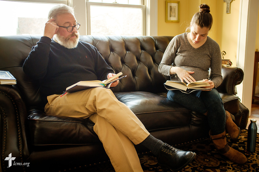 The Rev. David Kind, pastor of University Lutheran Chapel, prepares for afternoon prayer with Rebecca Wagner,  LCMS national missionary, at Luther House on Wednesday, Feb. 21, 2018, next to the University of Minnesota, Twin Cities, in Minneapolis. LCMS Communications/Erik M. Lunsford