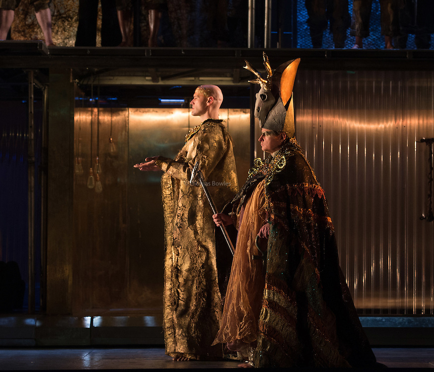 STRICT EMBARGO on images until 19.30 4th March 2016<br /> <br /> Zachary James as the Scribe and Colin Judson as the High Priest.<br /> <br /> <br /> Akhnaten - Philip Glass performed by the English National Opera<br /> Conductor, Karen Kamensek<br /> Director, Phelim McDermott<br /> <br /> Opens 4th March 2016<br /> London Coliseum <br /> <br /> <br /> Philip McDermot Returns to the ENO to direct a once in a generation staging of Philip Glass's iconic opera.