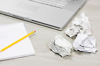 Crumpled Paper and Notebook