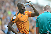 Benik Afobe cools down during the Sky Bet Championship match between Wolverhampton Wanderers and Charlton Athletic at Molineux, Wolverhampton, England on 29 August 2015. Photo by Alan Franklin.