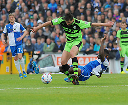 Forest Green Rovers's Aarran Racine is tackled by Bristol Rovers' Nathan Blissett - Photo mandatory by-line: Nizaam Jones /JMP - Mobile: 07966 386802 - 03/05/2015 - SPORT - Football - Bristol - Memorial Stadium - Bristol Rovers v Forest Green Rovers - Vanarama Football Conference.