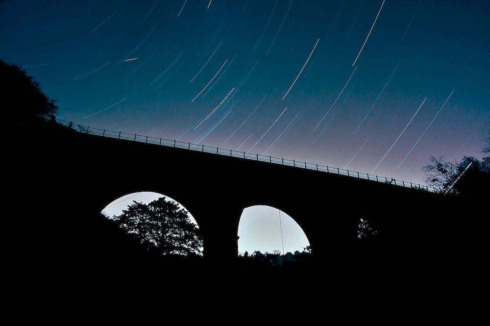 Despite being miles away from any major towns or cities, light pollution above the skies of Derbyshire still remains a problem, as this image shows. The one hour long exposure showing Monsal Dale viaduct during a moonless September evening reveals fascinating star-trails in the night sky, which become gradually bleached out by the light pollution at the bottom of the image.