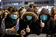 Frankfurt am Main | 02 Feb 2015<br /> <br /> Am Montag (02.02.2015) demonstrierten in Frankfurt an der Hauptwache etwa 60 PEGIDA-Anh&auml;nger mit teils extrem rassistischen Reden und Parolen z.B: gegen &quot;Islamisierung&quot;, an den Aktionen gegen die Rechtsextremisten nahmen mehrere tausend Menschen teil.<br /> Hier: Gegendemonstranten tragen einen Mund-Schutz gegen Heidi Mund, Organisatorin der PEGIDA-Demo.<br /> <br /> &copy;peter-juelich.com<br /> <br /> [No Model Release | No Property Release]