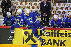 Jan Urbas of Slovenia and Miha Verlic of Slovenia during Ice Hockey match between National Teams of Kazakhstan and Slovenia in Round #4 of 2018 IIHF Ice Hockey World Championship Division I Group A, on April 27, 2018 in Arena Laszla Pappa, Budapest, Hungary. Photo by David Balogh / Sportida