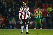Sheffield United forward David McGoldrick (17)  during the EFL Sky Bet Championship match between Sheffield United and West Bromwich Albion at Bramall Lane, Sheffield, England on 14 December 2018.