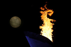 The XXII Winter Olympic Games 2014 in Sotchi, Olympics - Olympische Winterspiele Sotschi 2014,<br /> The olympic cauldron and the moon, *** Local Caption *** © pixathlon