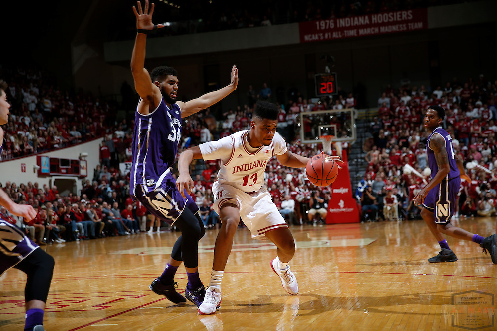 Indiana forward Juwan Morgan (13) in action as Northwestern played Indiana in an NCCA college basketball game in Bloomington, Ind., Saturday, Feb. 25, 2017. (AJ Mast)
