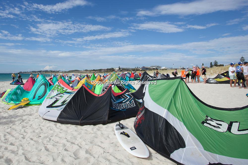 10th December 2017, Leighton Beach, Perth, Australia; Red Bull Lighthouse to Leighton kiteboard race; Kites line the beach after the race