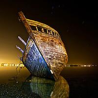 Cimetière de bateau sur la petite mer de Gâvres dans le Morbihan