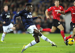 Man Utd Forward Danny Welbeck (ENG) sees a good chance go begging - Photo mandatory by-line: Joseph Meredith/JMP - Tel: Mobile: 07966 386802 - 24/11/2013 - SPORT - FOOTBALL - Cardiff City Stadium - Cardiff City v Manchester United - Barclays Premier League.