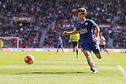 Leicester City forward Shinji Okazaki (20)  during the Barclays Premier League match between Sunderland and Leicester City at the Stadium Of Light, Sunderland, England on 10 April 2016. Photo by Simon Davies.