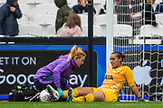 Becky Spencer (GK) (Tottenham Hotspur) receiving treatment during the FA Women's Super League match between West Ham United Women and Tottenham Hotspur Women at the London Stadium, London, England on 29 September 2019.