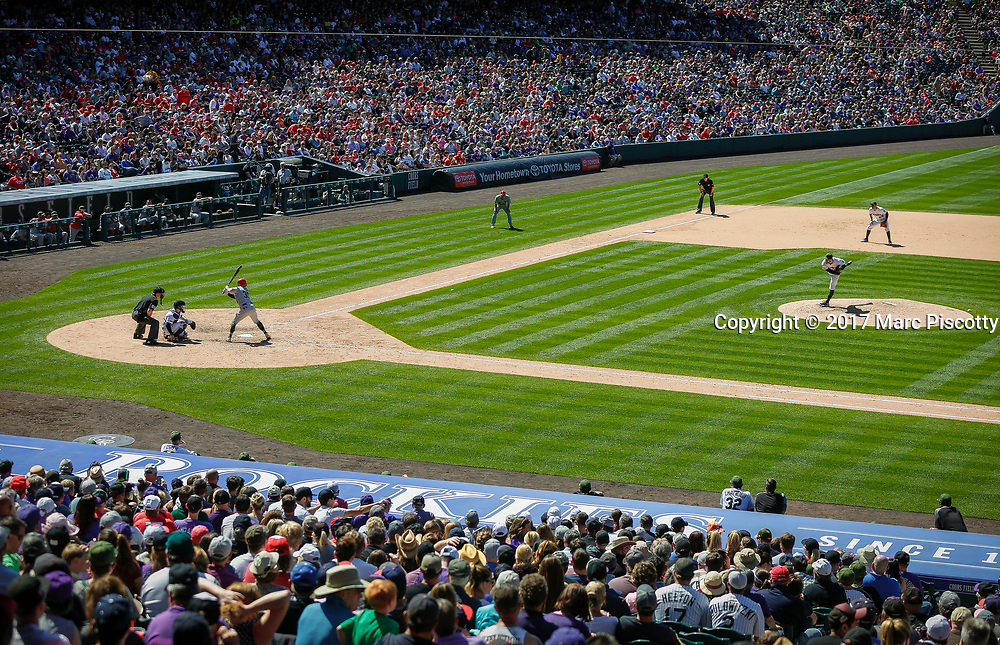 SHOT 5/28/17 3:26:41 PM - The Colorado Rockies play the St. Louis Cardinals during their regular season MLB game at Coors Field in Denver, Co. The Rockies won the game 8-4. (Photo by Marc Piscotty / © 2017)