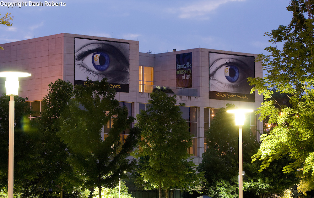 "The Knoxville, Tennessee Museum of Art building located in World's Fair Park is decorated with their ""Open Your Eyes, Open Your Mind"" promotion."