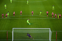 SOUTHAMPTON, ENGLAND - Monday, April 10, 2017: Liverpool's captain Harry Wilson sees his penalty kick saved by Southampton's goalkeeper Mouez Hassen, but he scored the re-bound, to seal a 2-2 draw inn injury time during FA Premier League 2 Division 1 Under-23 match at St.Mary's Stadium. (Pic by David Rawcliffe/Propaganda)
