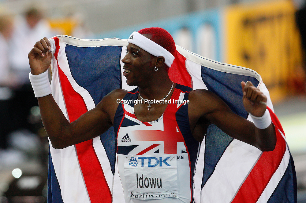 Phillips Idowu of Britain celebrates after winning the men's triple jump final during the 12th IAAF World Athletics Championships at the Olympic stadium in Berlin, Germany, 18 August 2009. Photo: Piotr Hawalej / WROFOTO / PHOTOSPORT