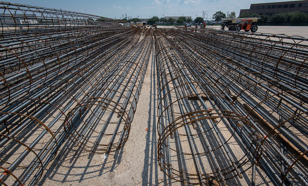 Contractors construct rebar pier cages in advance of foundation construction of Delmar-Tusa Fieldhouse, September 22, 2014.