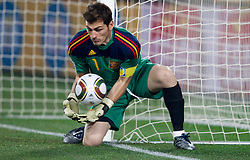 Iker Casillas of Spain during the 2010 FIFA World Cup South Africa Group H Second Round match between Spain and Honduras on June 21, 2010 at Ellis Park Stadium, Johannesburg, South Africa.   (Photo by Vid Ponikvar / Sportida)