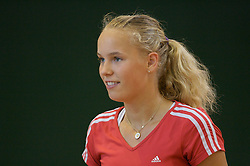 Liverpool, England - Thursday, June 14, 2007: Caroline Wozniacki (DEN) practices at the indoor court at the David Lloyd Centre on day three of the Liverpool International Tennis Tournament. For more information visit www.liverpooltennis.co.uk. (Pic by David Rawcliffe/Propaganda)