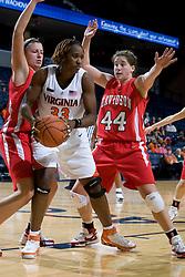 Virginia center Aisha Mohammed (33) is guarded by Davidson guard-forward Danielle Hemerka (44).  The Virginia Cavaliers women's basketball team defeated the Davidson Wildcats 83-68 at the John Paul Jones Arena in Charlottesville, VA on December 20, 2007.