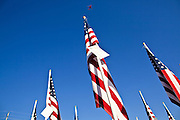 "10 SEPTEMBER 2011 - TEMPE, AZ:     A Southwest Airlines plane flies over the ""Healing Field"" in Tempe, AZ, Saturday. The ""Healing Field,"" a display of 2,996 flags, one for each person killed in the September 11 terrorists attacks on the World Trade Center in New York City and Washington DC, have become an annual tradition in Tempe. The event is sponsored by the National Exchange Club.     PHOTO BY JACK KURTZ"