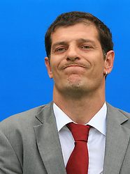 Head coach of Croatian Slaven Bilic while listening the national song before the UEFA EURO 2008 Group B soccer match between Austria and Croatia at Ernst-Happel Stadium, on June 8,2008, in Vienna, Austria.  (Photo by Vid Ponikvar / Sportal Images)