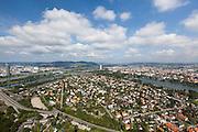 Bruckhaufen viewed from the Donauturm (English: Danube Tower). Austria