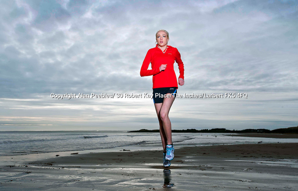 Eilish McColgan fashion shoot and training on Carnoustie beach photographed by Alan Peebles