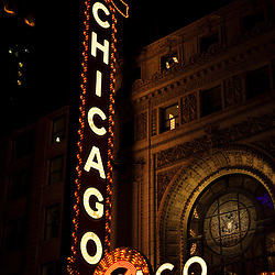 Chicago Theater at night. The Chicago Theatre is a Chicago Landmark and is listed with the National Register of Historic Places.