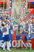 PROMOTED Tranmere Rovers players celebrate after winning the EFL Sky Bet League 2 Play Off Final match between Newport County and Tranmere Rovers at Wembley Stadium, London, England on 25 May 2019.