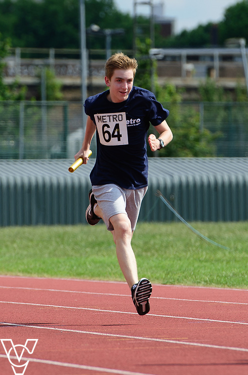 Metro Blind Sport's 2017 Athletics Open held at Mile End Stadium.  4x100m relay.  Sam Crowhurst<br /> <br /> Picture: Chris Vaughan Photography for Metro Blind Sport<br /> Date: June 17, 2017