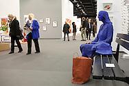 Europe, Germany, Cologne, the art exhibition Art Cologne at the exhibition centre in the town district Deutz, &quot;Blue Girl on Park Bench&quot; by George Segal.<br /> <br /> Europa, Deutschland, Koeln, Kunstmesse Art Cologne in den Deutzer Messehallen, &quot;Blue Girl on Park Bench&quot; von George Segal. ***HINWEIS ZU DEN ABGEBILDETEN KUNSTWERKEN - RECHTE DRITTER SIND VOM NUTZER ZU KLAEREN*** ***PLEASE NOTE: THIRD PARTY RIGHTS OF THE SHOWN WORK OF ART MUST BE CHECKED BY THE USER***