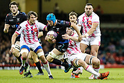 Ospreys flanker Justin Tipuric on the charge during the European Challenge Cup match between Ospreys and Stade Francais at Principality Stadium, Cardiff, Wales on 2 April 2017. Photo by Andrew Lewis.