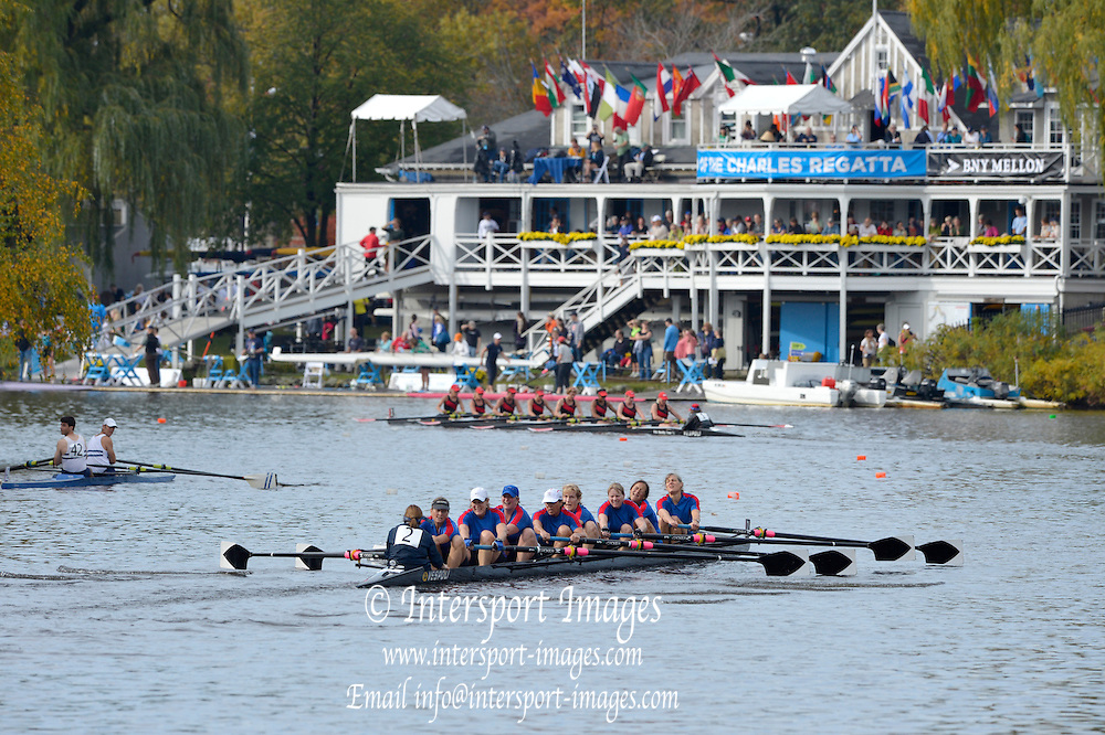 """..Description; General view as crews pass Cambridge Boat House during the 2012 Head of the Charles"""". Boston,  USA..09:55:21  Saturday  20/10/2012..[Mandatory Credit: Peter Spurrier/Intersport Images]"""